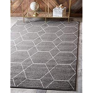 Unique Loom Trellis Frieze Collection Lattice Moroccan Geometric Modern Dark Gray Area Rug (4 feet 0 inch x 6 feet 0 inch)