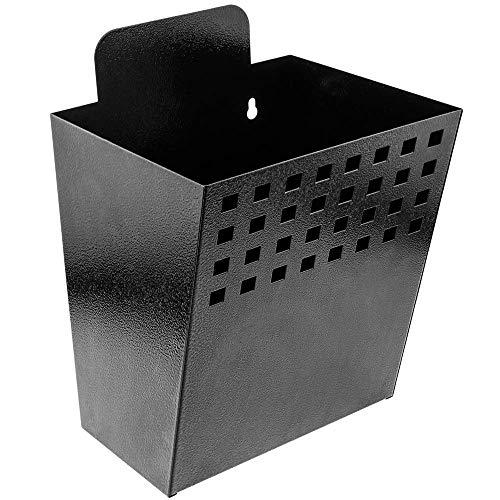 PrimeMatik - Metalen container voor wandmontage. Brievenbus voor tijdschriften en kranten. Zwarte kleur