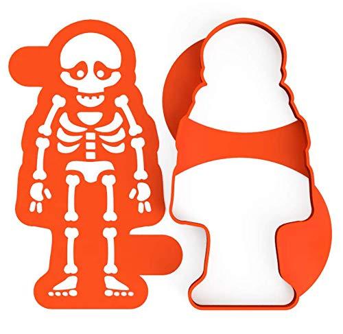 3DREAMS Skelett Ausstecher inkl. Stencil │inkl. 2 Rezepten │ aus Bio Kunststoff │ Made in Germany │ Skelett Ausstechform für Royal Icing Halloween
