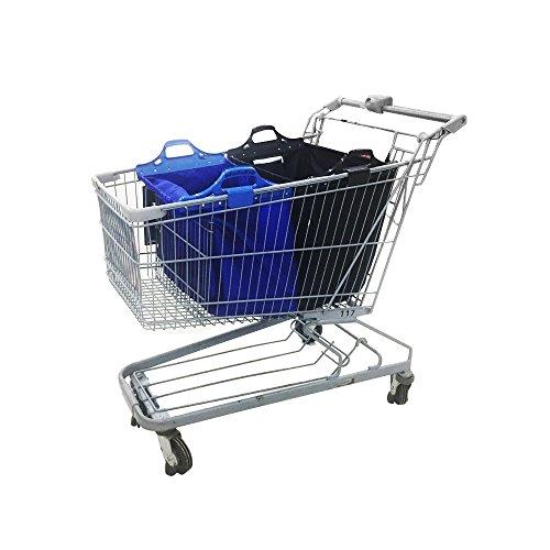 VAIIGO Wiederverwendbare Einkaufswagentasche, Faltbare Einkaufstaschen, Einkaufstasche passend für Alle gängigen Einkaufswagen Falt Tasche (Schwarz/Blau)