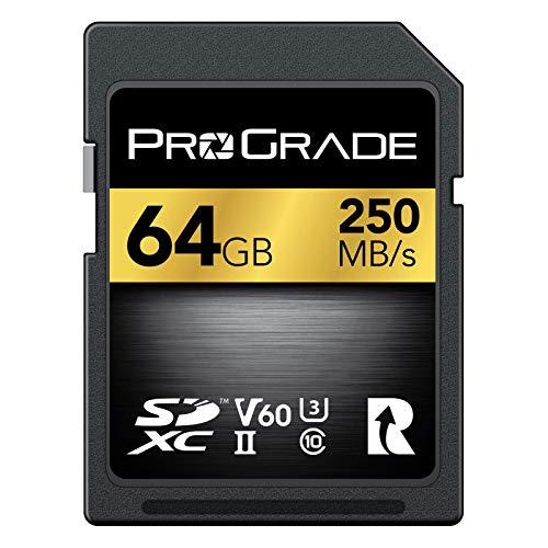 SD UHS-II 64 GB Karte V60 - Schreibgeschwindigkeit bis zu 130MB/s und Lesegeschwindigkeit von 250MB/s | Für professionelle Filmemacher, Fotografen und Kuratoren von Inhalten - von Prograde Digital