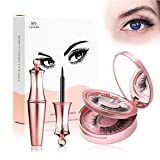 Magnetic Eyelashes with Magnetic Eyeliner, Magnetic False Eyelashes Kit, Magnetic Eyeliner and Lashes, 2 Pair No Glue Reusable Silk False Lashes, Easier To Use Than Traditional Magnetic Lash (KS01-5)