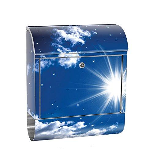 Buzón de liwwing de acero inoxidable con diseño y compartimento para el periódico, diseño XXL, buzón de pared, cielo estrellado, estrellas, cielo nocturno, no. 0023