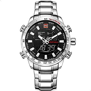 Naviforce Casual Watch For Men Analog-Digital Stainless Steel - 9093 S-B-W