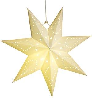 LIOOBO 7 puntas estrella de papel blanco linterna de papel estrella techo lámpara adorno colgante para navidad boda fiesta de cumpleaños decoración del hogar 45 * 45 cm