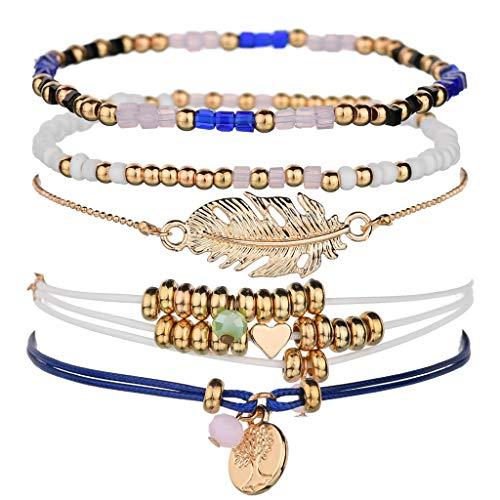 ciriQQ - Juego de pulseras de cuentas multicapa para mujer, joyería de fiesta, regalo de inspiración, pulsera de regalo para dama cumpleaños, hombres, mamá amiga y caja de regalo