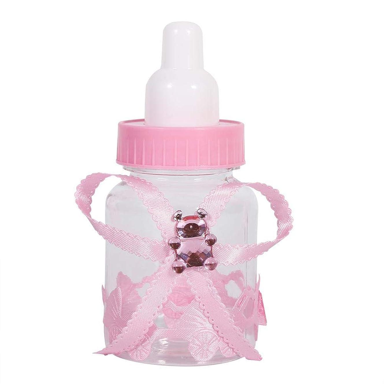 科学者アイスクリームで出来ているAsixx キャンディーボトル 50個入り キャンディ入れ キャンディー瓶 哺乳瓶型 かわいい プラスチック製 飴入れ 結婚式 祝日 出産祝い キャンディー箱(ピンク)