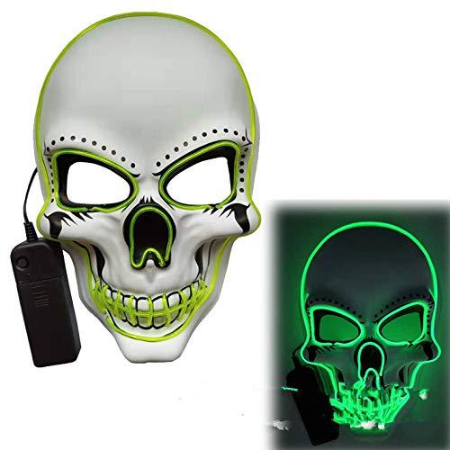 ACHICOO LED Halloween Scary Glow Skeleton Maske Cosplay Party Kostümzubehör Leuchtendes Grün