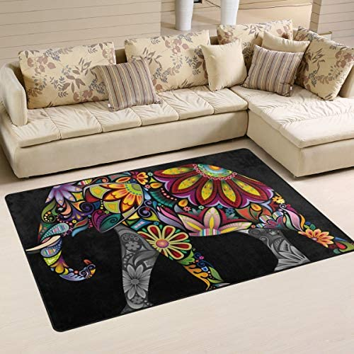 Boho Living Room Rug African Elephant Area Rug Carpet Traditional Rectangle Rug Non s Lip Floor product image