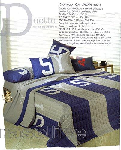 Caleffi 'Quilt Couvre-lit Boutis Sweet Years Duetto Bleu Gris Couette Printemps/Automne Une Place (170 x 270 cm Rembourrage léger de 100 GR/m²)