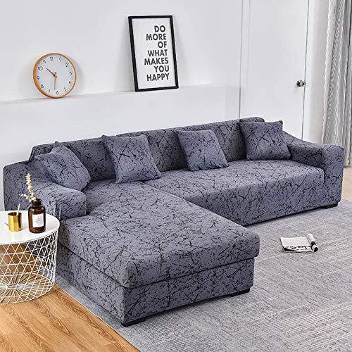 Fundas de sofá Chaise Longue Impresas en Forma de L para Sala de Estar Protector de sofá Fundas elásticas Antipolvo para sofá de Esquina A14 de 3 plazas