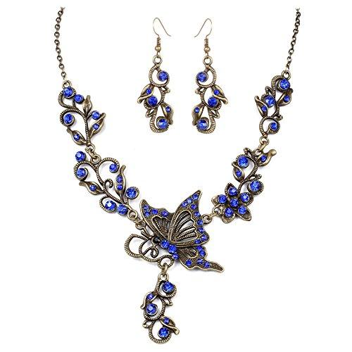 Beuya Conjunto De Joyas con Collar Aretes De Oido y Joyas De Rhinestones Pendientes de Collar de Mujer Conjunto de Gargantilla y Aretes