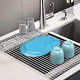 Roll Up Dish Drying Rack, Stainless Steel Over Sink Dish Drying Rack, Multi-Use Foldable Dishes Holder Sink Drain for Kitchen Sink Countertop, 17.3''L×15''W, Grey