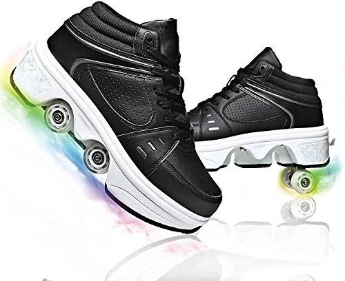 SHHAN Patines En Línea, Patines De Ruedas para Mujer, Zapatos Multiusos 2 En 1, Zapatos Deportivos con Luces LED De 7 Colores para Niña,36