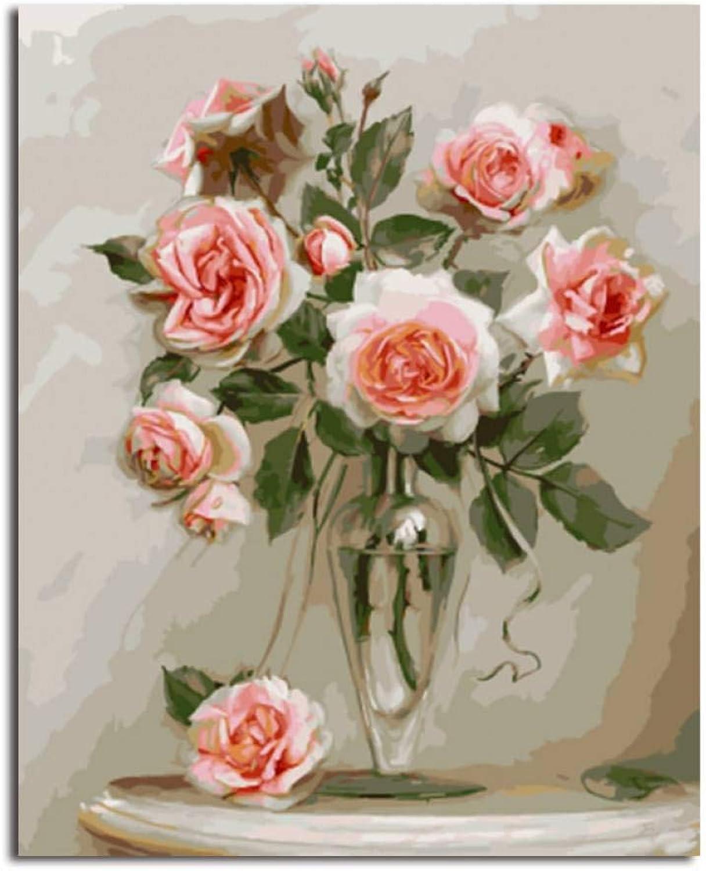 marcas de diseñadores baratos DGKIPWV Pintura al óleo enmarcada Pintura por números para para para Colorar por números de Flor Decoración del hogar Pintura y caligrafía 40  50 cm  Garantía 100% de ajuste