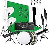 EMART 2.6M x 3M Hintergrund Stützsystem sowie 800W 5500K Regenschirme Softbox Dauerlicht Set für Fotostudio Produkt Porträt sowie Video Fotografie