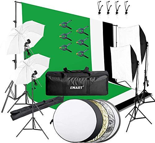 EMART Fotostudio Set, 2,6M x 3M Hintergrund Stützsystem mit Dauerlicht Softbox Set Fotohintergrund Reflektor Greenscreen 800W 5500K Regenschirme für Fotostudio Produkt Porträt Video Fotografie