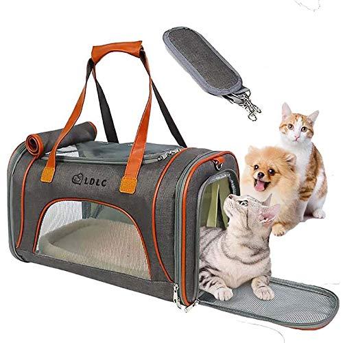 Wuudi Transportín para mascotas, bolsa de transporte expandible para mascotas, transportín de...