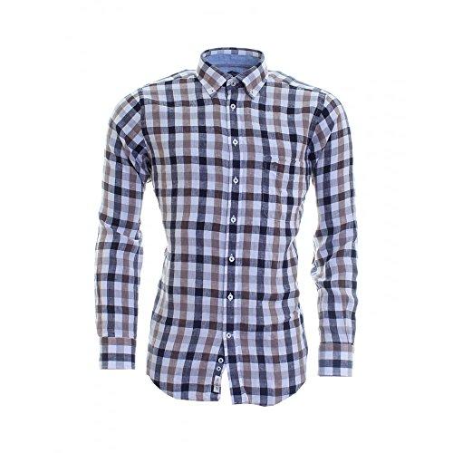 Photo of Fynch Hatton Men`s Linen Shirt 1116-6180 6182 Brown-Navy Check (X Large)