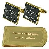 Select Gifts Jubilación Jubilados de Tono Oro Gemelos Money Clip Grabado Set de Regalo