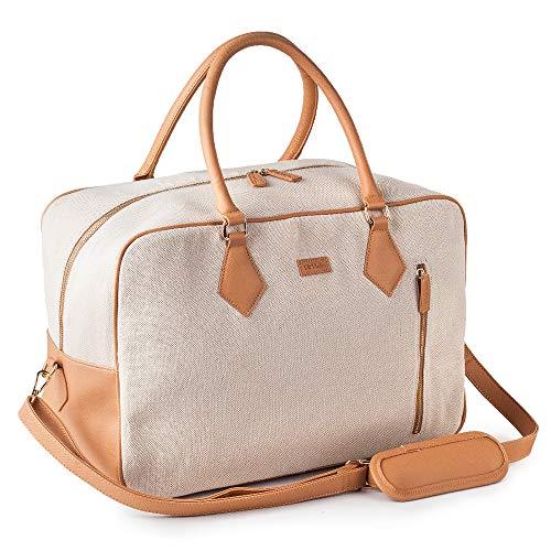Ladies Women Canvas Travel Weekender Overnight Carry-on Shoulder Duffel Tote Bag in Trolley Sleeve
