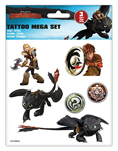 Craze DreamWorks Dragons Tattoo Mega Set 3 Bögen Drachenzähmen Tattoos Kindertattoos 57767, Kindertattoo