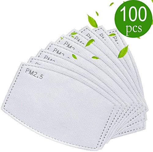 drftgyui Filtro de carbón Activo de Repuesto para Ropa Meltblow 5 filtros de Tela PM 2.5 filtros antihaz 100 Pack