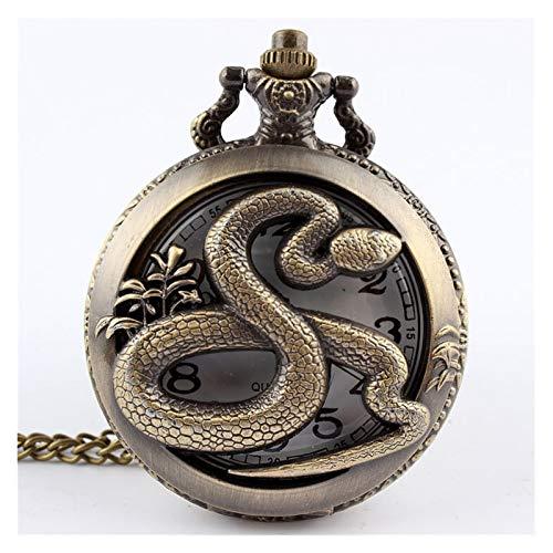 Reloj de bolsillo, estilo retro antiguo chino del zodiaco calado collar para hombre redondo bronce bolsillo bolsillo reloj niño (color serpiente)
