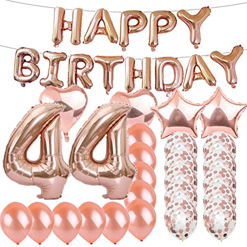 Sweet 44th Birthday Decorations Party Supplies,Rose Gold Number 44 Balloons,44th Foil Mylar Balloons Latex Balloon Decoration,Great 44th Birthday Gifts for Girls,Women,Men,Photo Props