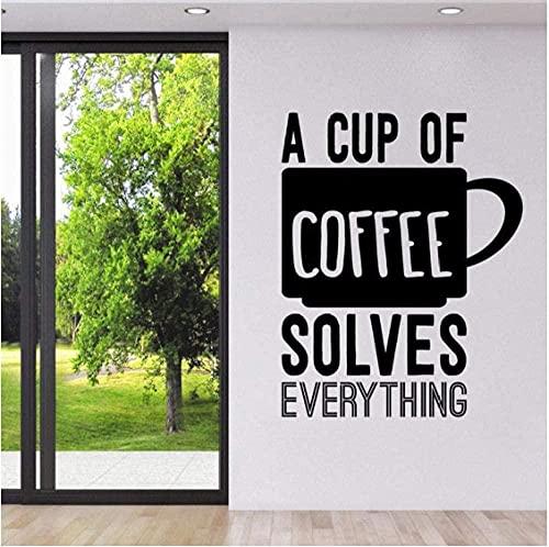 Calcomanías de pared con frases de café Una taza de café lo resuelve todo Pegatinas de pared Tienda de café Letrero de cocina Logo Arte de pared Mural 30X37Cm