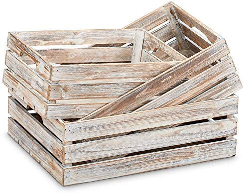 Barnyard Designs Rustic Wood Nesting Crates with Handles Decorative Farmhouse Wooden Storage product image