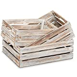 "Barnyard Designs Rustic Wood Nesting Crates with Handles Decorative Farmhouse Wooden Storage Container Boxes, Set of 3 -Whitewashed 17"" x 12.5"" (White Washed)"