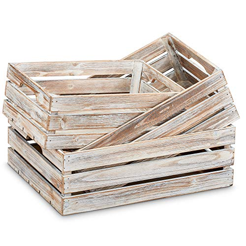 """Barnyard Designs Rustic Wood Nesting Crates with Handles Decorative Farmhouse Wooden Storage Container Boxes, Set of 3, 16"""" x 12.5"""" (Whitewashed)"""