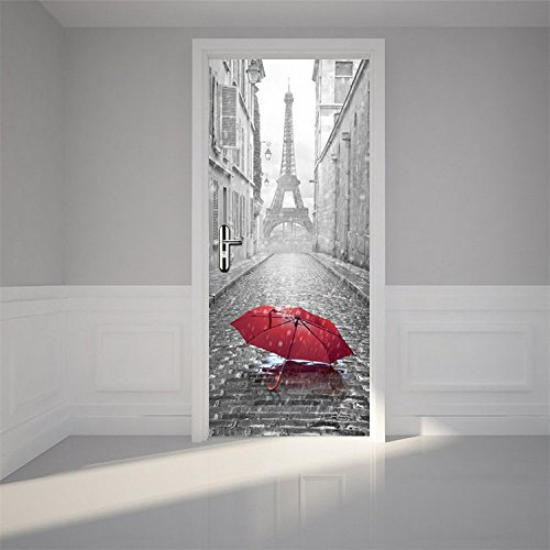 "VancyTop 30.3x78.7"" 1PCS/Set Fashion Home Decoration Paris Eiffel Iron Removable Door Mural Decals Easy to Apply"