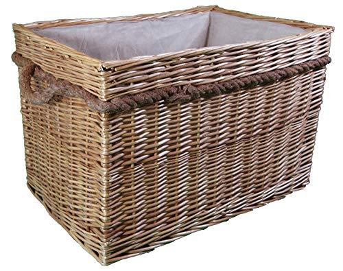 Wilgenrieten Log & Kindling Baskets. In grijs en natuurlijk. Katoenen voering. Natuurlijke opslagoplossing. Open opbergdoos voor hout en open haarden