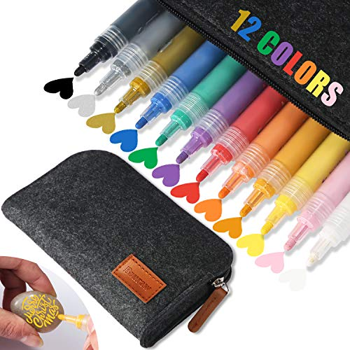 Acrylic Paint Marker Pens-Bouraw Set of 12 Colors for Rocks Painting, Ceramic, Wood, Fabric, Porcelain, Canvas, DIY Craft Making Supplies, Photo Album, Card Making, 2-3mm Paint Pens with Felt Bags