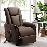 BOSSIN Single Recliner Chair Fabric Recliner Sofa with Padded Seat,Adjustable Modern Single Reclining Chair with Pocket for Living Room(Fabric, Brown)