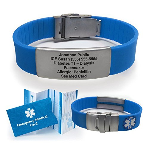 Cheap Silicone Sport Medical Alert ID Bracelet - Blue (Incl. 5 Lines of Custom Engraving). Choose Yo...