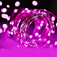 LED イルミネーションライト LEDストリングスライト 50球 5m 電池式 防水 フェアリーライト 屋内・屋外兼用 新年 バレンタインデー プレゼント 銅線 紫(パープル)