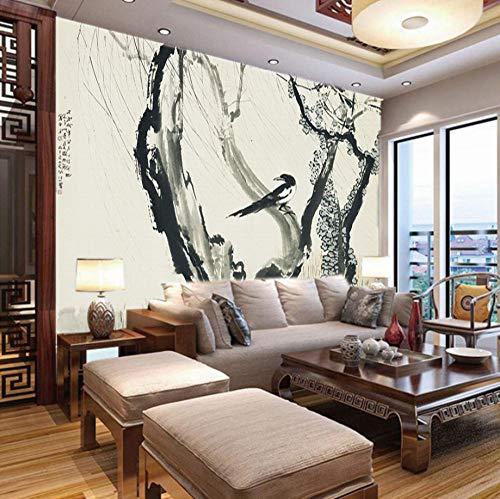 Fotobehang Slaapkamer Inkt Tak Vogel, 150X100Cm Behang Photo Giant Art Posters voor Slaapkamers Woonkamer Wanddecoratie 300x210cm
