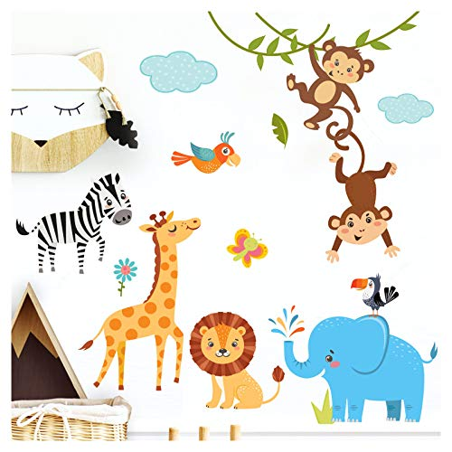 Little Deco Kinderbilder Dschungeltiere I M - 112 x 81 cm (BxH) I Wandtattoo Kinderzimmer Junge Deko Babyzimmer Junge Wandsticker Jungs Sticker Wandaufkleber DL204