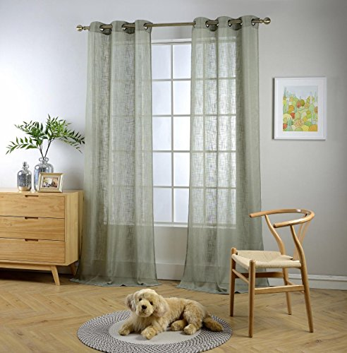 """MIUCO Semi Sheer Curtains Poly Linen Textured Solid Grommet Curtains 84 Inches Long for Living Room 2 Panels (2 x 37 Wide x 84"""" Long) Sage"""