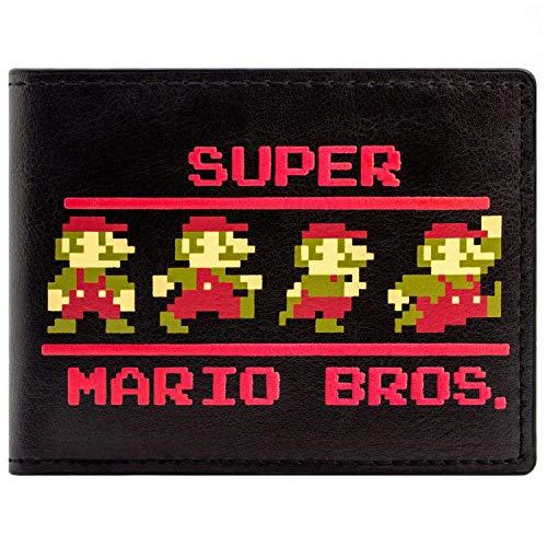 Super Mario Bros 8-Bit Poses Rétro Portefeuille Noir