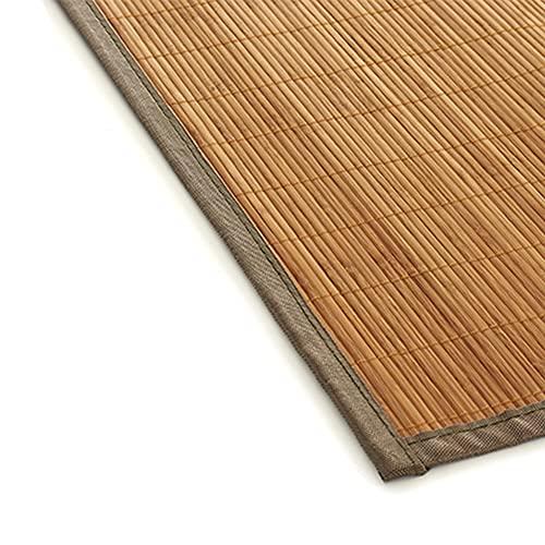 Alfombra de bambú Gris para Interior y Exterior, Alfombra Bambú Salón, Cocina, Despacho, Dormitorio, Antideslizante, con Cenefa, 50x80cm (Gris)