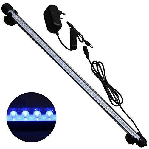 Mingdak LED Aquarium Beleuchtung, Leuchte Lampe 57 LEDs, 48CM Aquariumleuchte IP68 Wasserdicht Unterwasserleuchte für Fisch Tank, Blau Licht