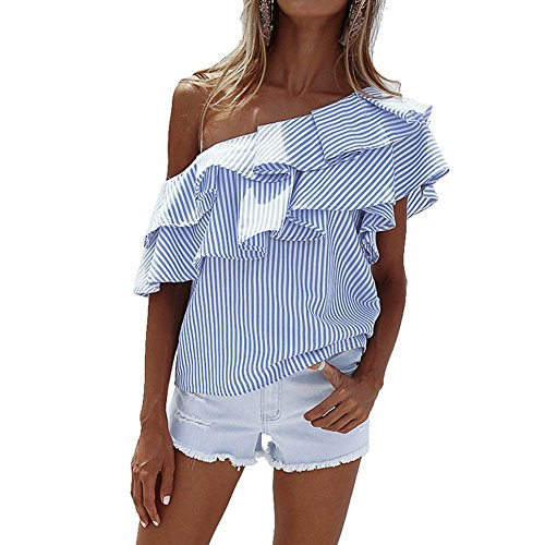 Camisetas de Rayas Mujer Blusas Sin Tirantes Hombros Descubiertos Básica Tops Moda Casual T Shirt Manga Corta Verano Pullover Tunica para Playa – Landove
