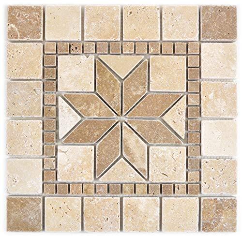 Naturstein Mosaik Einleger Fliese Travertin beige walnuss für WANDDEKO BAD WC KÜCHENDEKO