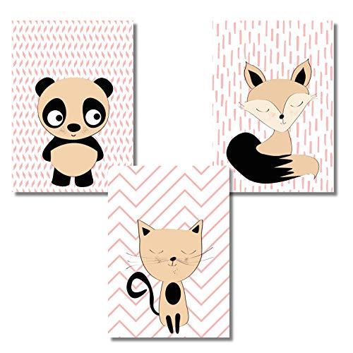 Rosa Wandposter für das Kinderzimmer (Mädchen) ohne Bilderrahmen Fuchs Panda Katze Babyzimmer Poster Bilder Dekoration Kinderzimmer im 3er Set DIN A4 Format