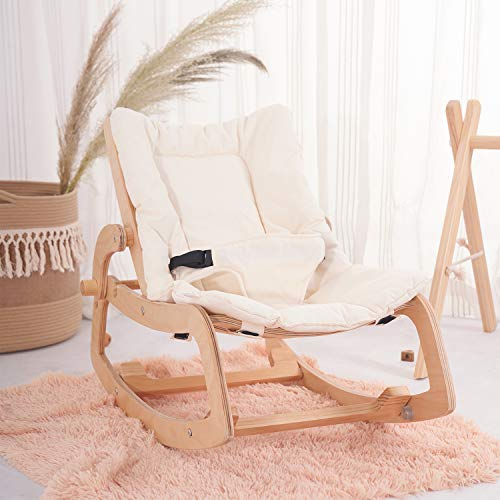 Save %28 Now! HAN-MM 3-in-1 Baby Bouncer Rocker Chair and Convertible Wooden Recliner for Toddler- w...