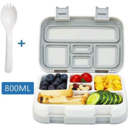 DROB Lunchbox mit Unterteilungen Brotdose Kinder Bento Box auslaufsicher für Schule Arbeit Picknick Reisen Untrwegs Mikrowelle- Spülmaschinengeeignet